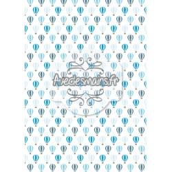 Montgolfières bleues sur fond blanc