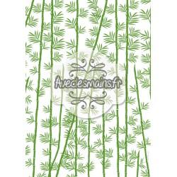 Bambou feuilles et tige - vert