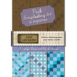 Pack papiers scrap - Cercles et carrés bleus