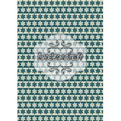 Bande de fleurs bleues et beiges - stamp