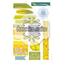 """Planche 15 étiquettes """"un air de printemps"""" - mini pack"""