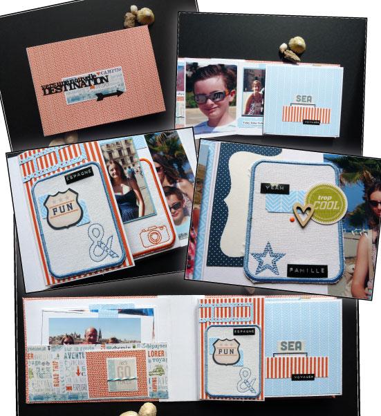 Exemple, modèle mini album - chevrons bleu - Avec les mains
