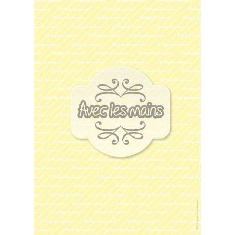 texte blanc sur fond jaune clair rayé - stamp