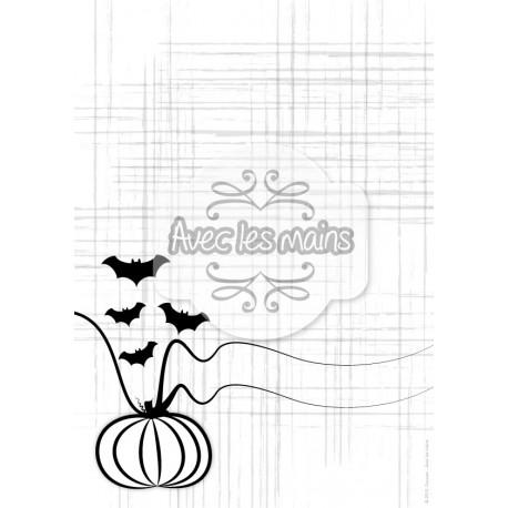 Potiron et chauve-souris noir fond blanc griffé - stamp