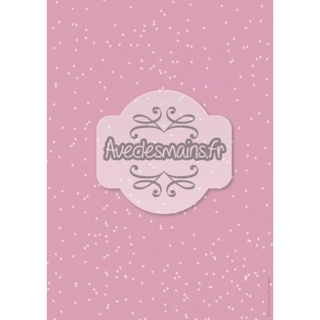 Flocons sur fond rose - stamp