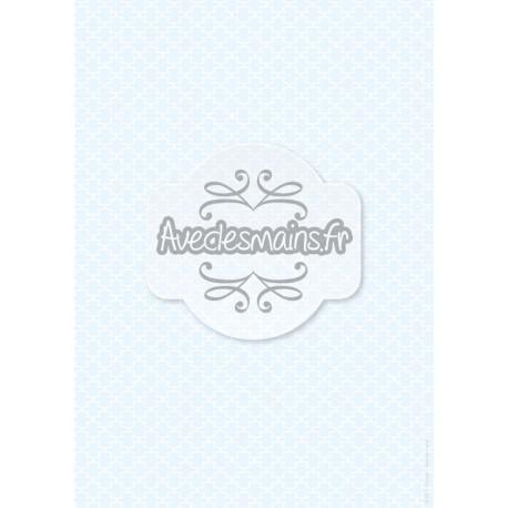 Motif façon fer forgé blanc - sur fond bleu - stamp