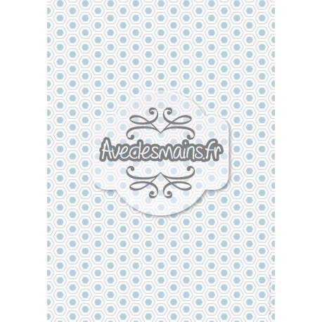 Hexagones arrondis gis et bleus - stamp