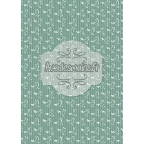 Colombes blanches fond bleu-vert - stamp