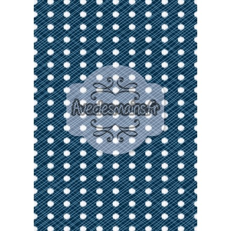 Points irréguliers blancs sur fond bleu ondulé - stamp