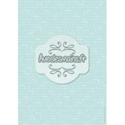 Texte blanc sur fond bleu-vert et carrés blancs - minipack