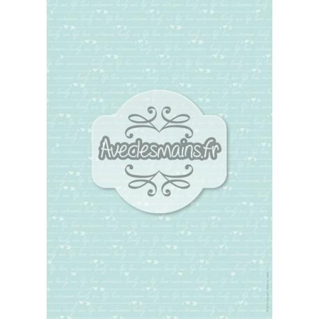 Texte blanc sur fond bleu-vert - minipack - stamp