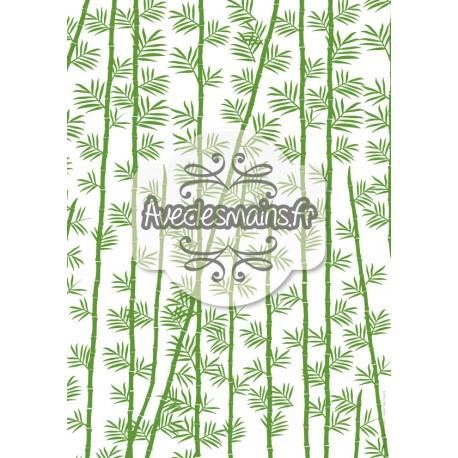 Bambou feuilles et tige - vert - stamp
