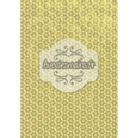 Fleur vertes sur fond beige - stamp