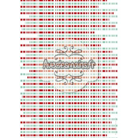 Bandeaux rouge et turquoise rayés de blanc - stamp