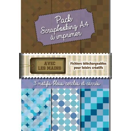 Pack papier scrap - Cercles et carrées bleus