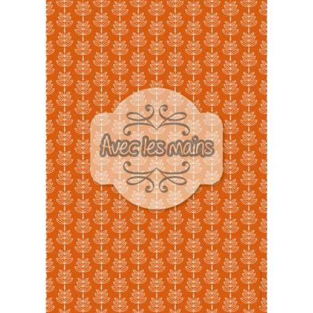 feuilles en épis - fond orange - stamp