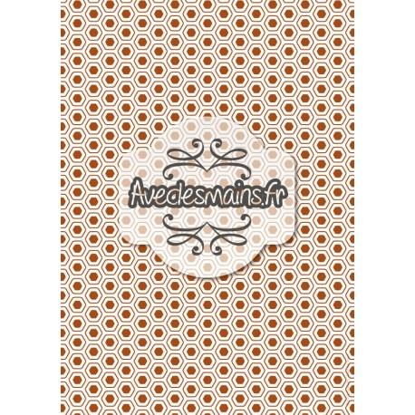 Hexagones arrondis marron - stamp