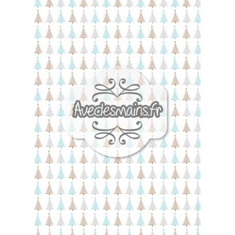 Sapins étoilés gris bleu or - stamp
