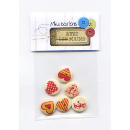 6 boutons ronds imprimés cœur