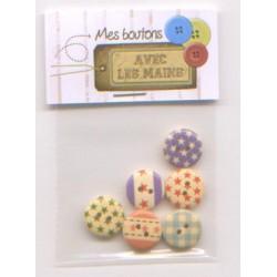6 boutons ronds imprimés étoiles et vichy