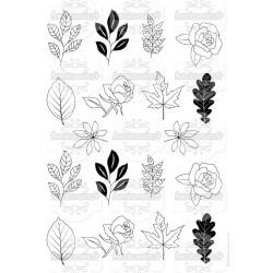 Feuilles et fleurs à découper - noir - stamp