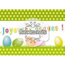 Carte A4 Joyeuses Pâques - œufs couleur sur gazon