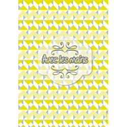 Triangles et zig-zag bleus, jaunes et blancs