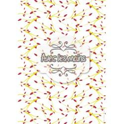 Branches feuillues jaune rouge - stamp