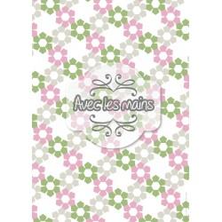 Fleurs pentagonales roses, grises et vertes