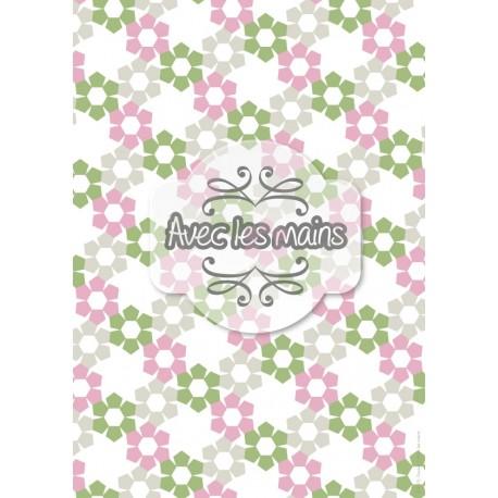 Fleurs pentagonales roses grises et vertes - stamp