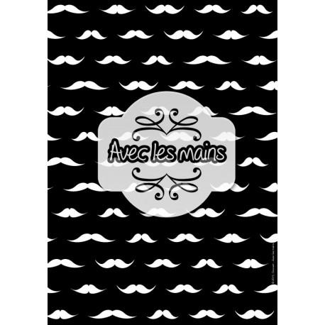 Moustaches blanches sur fond noir - stamp