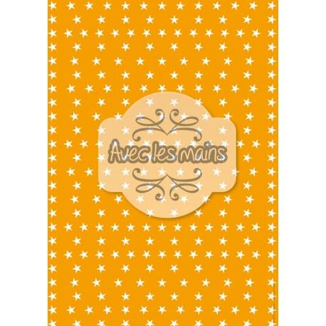 Étoiles blanches sur fond orange - stamp