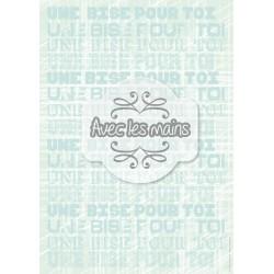 Texte Une bise pour toi - bleu - stamp