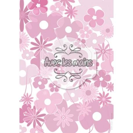 Pèle mêle de fleurs roses - stamp