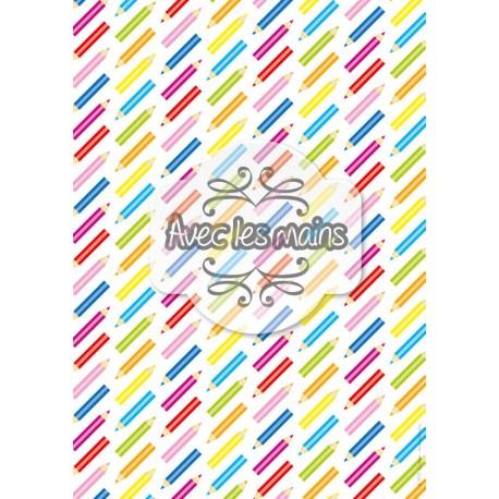 Crayons de couleur en diagonale - stamp