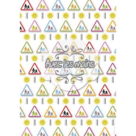 Attention école - panneaux multicolors - stamp