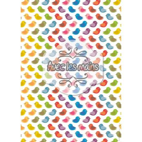 Nuée d'oiseaux multicolors - stamp