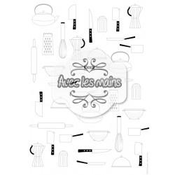 ustensiles cuisine gris sur fond blanc - stamp