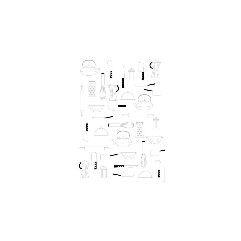 papier scrap imprimer ustensiles de cuisine gris sur fond blanc. Black Bedroom Furniture Sets. Home Design Ideas