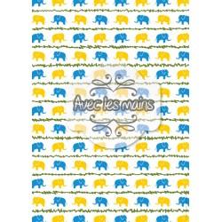 Éléphants jaunes et bleus