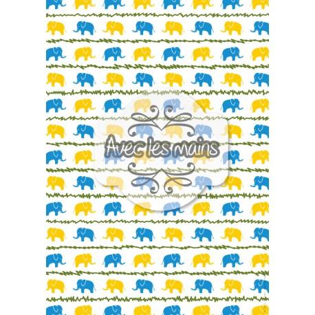 Éléphants jaunes et bleus - stamp