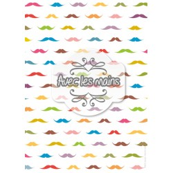 Moustaches multicolores sur fond blanc