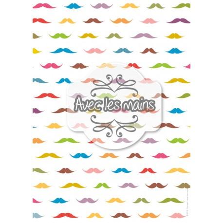 Moustaches multicolores sur fond blanc - stamp