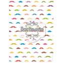 Moustaches multicolores sur fond blanc